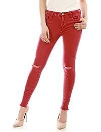 La Modeuse - Jeans skinny rouge déchiré aux genoux