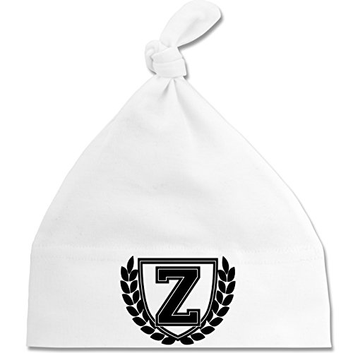 Shirtracer Anfangsbuchstaben Baby - Z Collegestyle - Unisize - Weiß - BZ15 - Baby Mütze mit einfachem Knoten als Geschenkidee