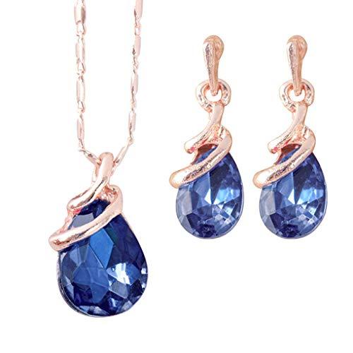 Babysbreath17 Agua Sencilla Forma de la Gota Elegante del oído Pendiente del Collar de Piedras Preciosas Colgantes Stud Mujeres Conjunto de Joyas Zafiro