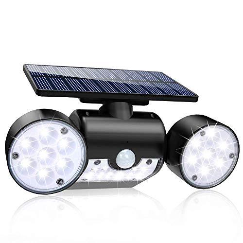 Luz Solar 30LED Lámpara Solar Exterior, IP65 Impermeable Wireless Lámpara Solar con 120° Sensor de Movimiento, 360° Adjustable Doble Luz y Panel Solar Foco Solar para Jardín Garaje Terraza (1 Pieza)