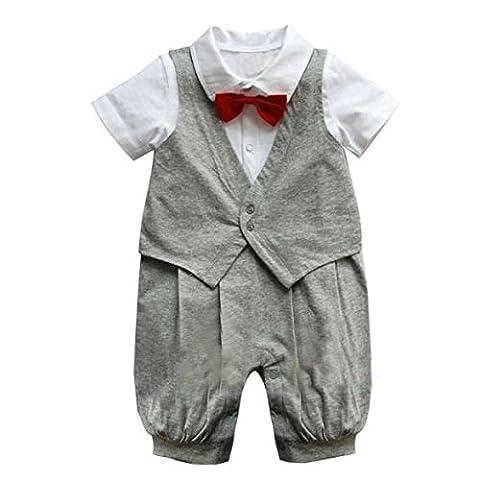 Baby Strampler Smoking für Jungen | Anzug mit Fliege | Größe 70 - 80 - 90 - 100 | Süßes Geschenk für Eltern mit Babies (80, grau)