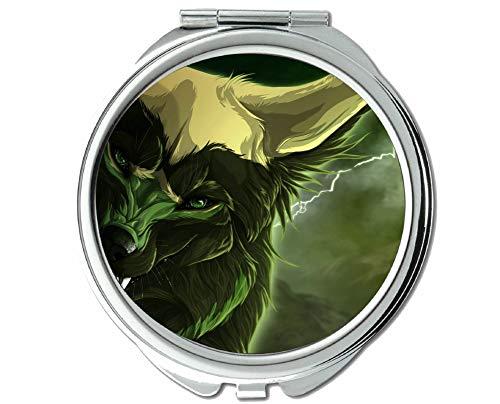 Yanteng Spiegel, Runder Spiegel, Animal Wolf Taschenspiegel, 1 X 2X Vergrößerung