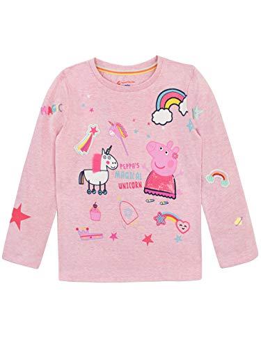 Peppa Pig Camiseta de Manga Larga para niñas Unicornio Rosa 2-3 Años