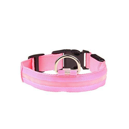 SUXIAO Heimtierbedarf Nylon-LED-Haustierhundehalsband, Nachtsicherheitsleine, Hunde Leuchtend fluoreszierend, pink, Länge M (40-48) cm