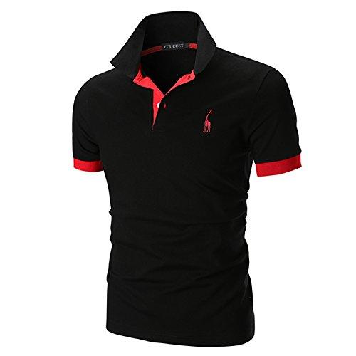 Ycueust uomo cotone giraffa ricamo manica corta polo tennis golf casual t-shirt (4xl, nero)