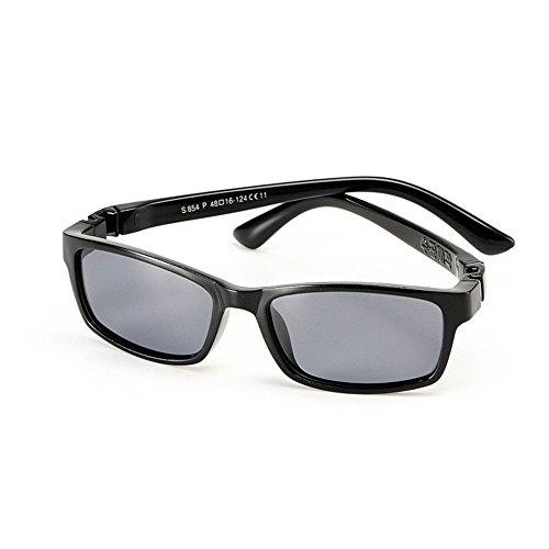 Yiph-Sunglass Sonnenbrillen Mode Silica Gel Full Frame Kids Polarized Sonnenbrillen mit Etui UV-Schutz für Jungen Mädchen Alter 3 bis 10 (Farbe : Schwarz)