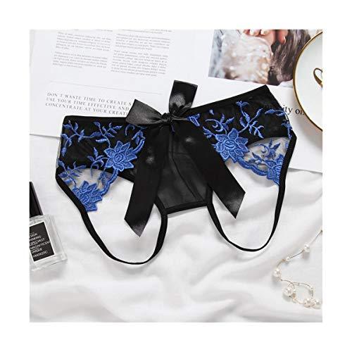 FUBULECY Frauen Höschen Transparente Stickerei Low Waist Hollow Schöne Gesäß Sexy Dessous (Farbe : Blau, Size : Freesize) -