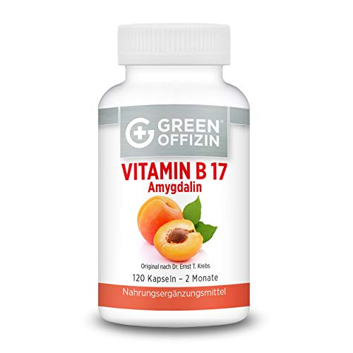 Green Offizin Vitamin B17 I 1000 mg BIO Aprikosenkern-Extrakt pro Tagesdosis + 160 mg natürlichem Vitamin C der Acerola-Kirsche I Bittere Aprikosenkerne I Hochdosiert und Naturbelassen (120 Kapseln)