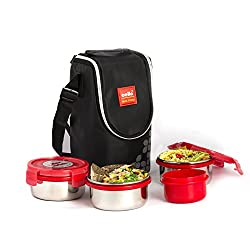 Cello Max Fresh Click Steel Lunch Box Set, 4-Pieces, Red