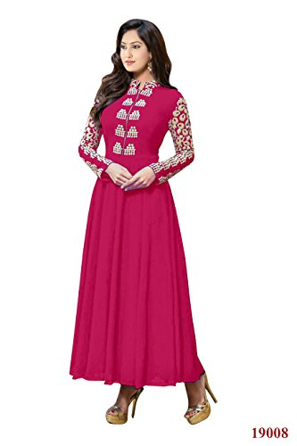Rajnandini Women's Faux Georgette rose anarkali style gown with Emboidery Anarkali Suit- Dress Material  available at amazon for Rs.739