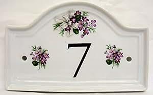 sweet veilchen haus t r nummer plaque keramik veilchen hausnummer schild jeder anzahl. Black Bedroom Furniture Sets. Home Design Ideas