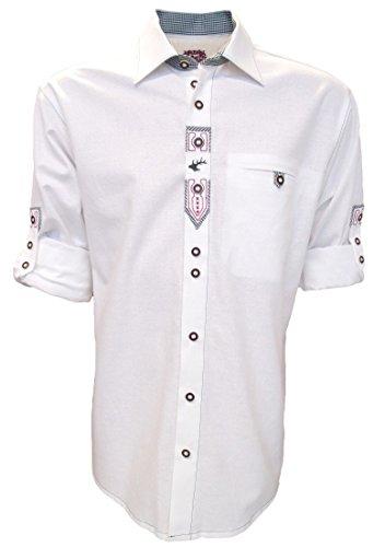 Trachtenhemd für Lederhosen mit Stickerei weiß, Hemdgröße:3XL