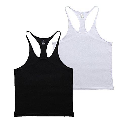 Musclealive Herren Fitnessstudio Stringer Unterhemd 1 cm Strap dehnbares Material aus Baumwolle (Singlet Racerback)