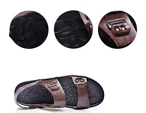 Nuova estate uomini popolari freddi pistoni freddi antiscivolo casuali scarpe da uomo in pelle indossare sandali di cuoio esterni Brown