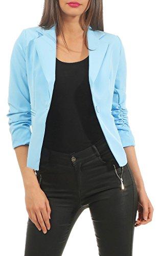DANAEST Eleganter Damen Blazer Jacke aus Baumwolle für Business Freizeit Party (632), Farbe:Hell Blau, Kostüme & Blazer für Damen:36/S