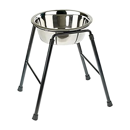 Classic Pet Products Single Feeder High Stand with 1600 ml Stainless Steel Dish, 300 mm Tall 1