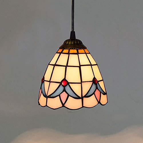 Hängeleuchte im Tiffany-Stil, 6 Zoll / 6 cm, Blumenmotiv, Hängeleuchte, Balkon, Restaurant, Schlafzimmer, Kunst, kleiner Anhänger (Beleuchtung Nouveau Anhänger Stil Art)