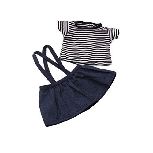 Girl-puppen American Elsa (Minshao 18 Zoll American Girl Doll clothes Puppenkleidung Rock + T-Shirt Set)