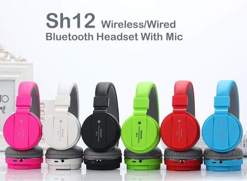 VOSAVO SH12 Foldable On-Ear Wireless Stereo Bluetooth Headphones Supports MP3, FM & TF Card Reader Compatible with Xiaomi Mi,Samsung, Sony, Oppo, Vivo Smartphones (1 Year Warranty,Colour May Vary)