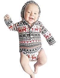 Weihnachten Neugeborenes Baby mit Kapuze Overall Vovotrade Infant Jungen Mädchen Weihnachten Langarm Hoodie Elk Print Strampler Geometrische Bodysuit Kleinkind Xmas Set