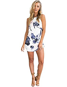 SKY Celebrate for the Summer Day !!! Mujeres Lotus Impreso vestido del arnés Tethers Floral Printed Bodycon Short...