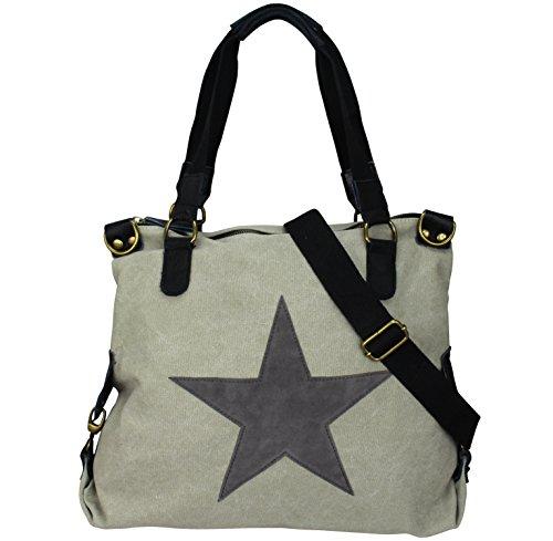 Damen FASHION Handtasche Sterne Canvas TOP TREND Tragetasche Stern Beige/Grau
