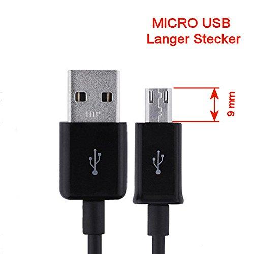 KRS - ST2 - Langer Stecker Stecker 9mm USB SYNC cable kabel Datenkabel Ladekabel Micro USB für Samsung S4 S5 S6 HTC One Touch /one Touch mini ca 90 cm schwarz