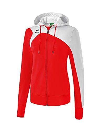 Erima Damen Club 1900 2.0 Trainingsjacke, mit Kapuze, rot/weiß, 36