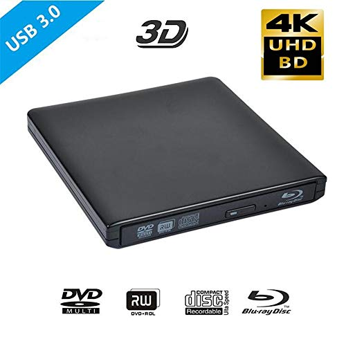 HM2 USB 3.0 4K Bluray Externes optisches Laufwerk 3D-Player BD-RE-Brenner Recorder DVD +/- RW/RAM-Laufwerke für Computer-Windows7 / 8/10,Schwarz