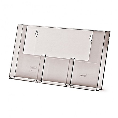 Prospekthalter DIN lang dreifach Wand Wandprospekthalter Flyerhalter Acryl glasklar Prospekthalter DIN lang