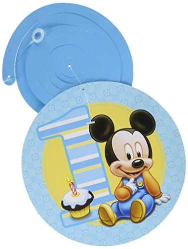 12-Piece Mickey's 1st Birthday Swirl Decorations, (Baby Mickey Party Supplies)