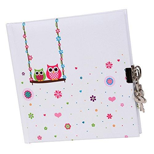 Preisvergleich Produktbild Goldbuch Tagebuch, Eule, 96 weiße Seiten, 16,5 x 16,5 cm, Schloss mit 2 Schlüsseln, Laminierter Kunstdruck, Farblich sortiert, 44043