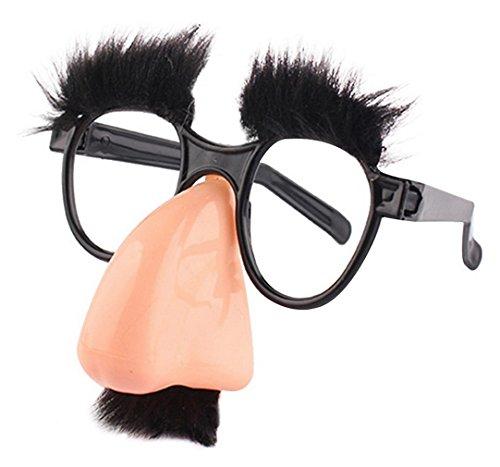 Lukis Brille mit Nase Bart und Augenbrauen Nasenbrille Glasses Halloween Zubehör Bunt Größe 12x12cm