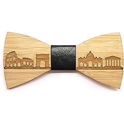 BOBIJOO Jewelry - Hombre de Madera bambú Pajarita Roma Italia Cuero Hecho a Mano