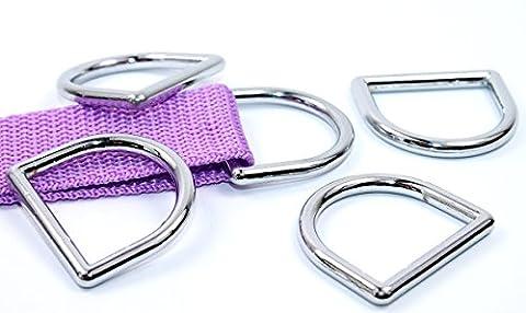 D-Ringe, Halbringe gegossen OHNE Naht für 25mm Gurt/Bänder. 10 Stück (Nähen Ringe)