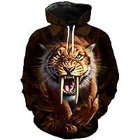 B-Pertand Roaring Saber-Toothed Tiger Print Moda Sudadera con Capucha Streetwear Fun Pullover