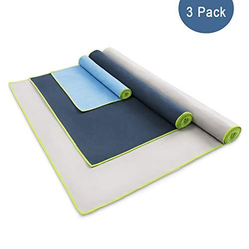 Hbselect set 3 asciugamani microfibra adasciugatura rapida asciugamano palestra in 3 diverse dimensioni telo palestra 30x50 + 50x100 + 60x120 cm telo microfibra multifunzione per sport, bagno, mare