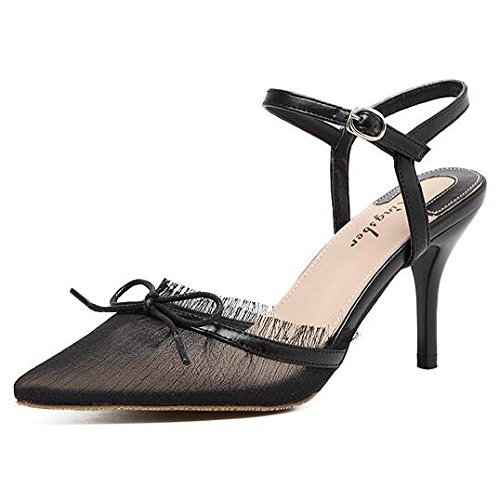 ZXCB Frauen Lace Stiletto Mid Heels Bow Spitz Slingback Sandalen Hochzeit Prom Party Brautschuhe,Black-36 (Heel Slingback Prom Stiletto Schuhe)