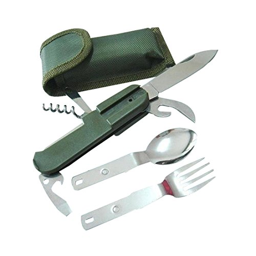 1 Set Folding Portable Stainless Steel Camping Cutlery Army Green Outdoor Travel Eating Utensils Set with Holder Sheath - Detachable Fork, Picnic Knife, Spoon, Corkscrew, Bottle Tin Opener, Piercing tool