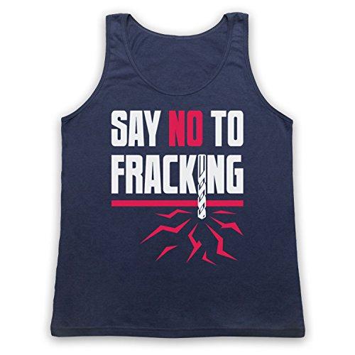 Say No To Fracking Protest Slogan Tank-Top Weste Ultramarinblau