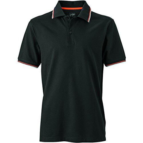 JAMES & NICHOLSON Herren Poloshirt, Einfarbig noir-blanc-orange