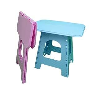 Bleu en plastique solide pour pique nique camping pliante - Petite table de jardin pliante en plastique ...