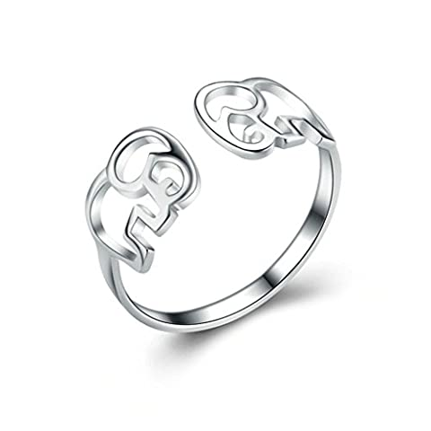 Beydodo Silver Rings For Women (Anniversary-Rings) Adjustable Ring Silver Hollow Lovely Elephant