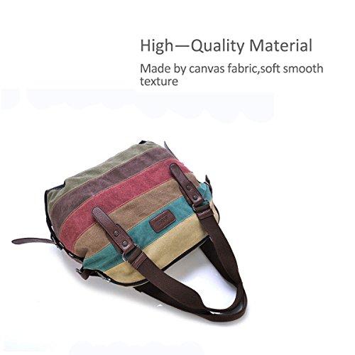 Nicole&Doris Nuove donne / signore Canvas Handbag Tote del messaggero di Crossbody di contrasto di colore Stripes Big Bag Contrasto di colore Contrasto di colore