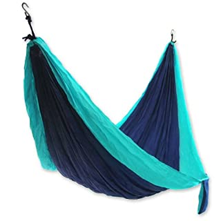 Acha Lightweight Parachute Nylon DOUBLE Hammock Dark & Light Blue
