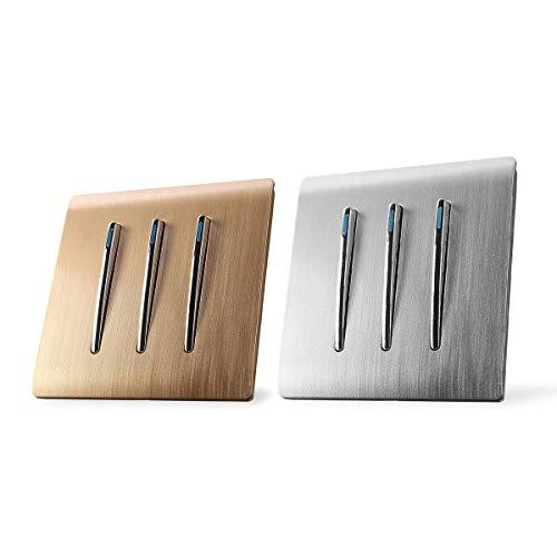GIlH 110-250V 1 Way 3 Gang Wall Light Lamp Switch Panel Control Push Buttons Luminous -