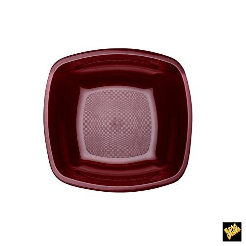 Square Fonds Assiettes Plastique PP cfz 25pz 180 mm Bordeaux