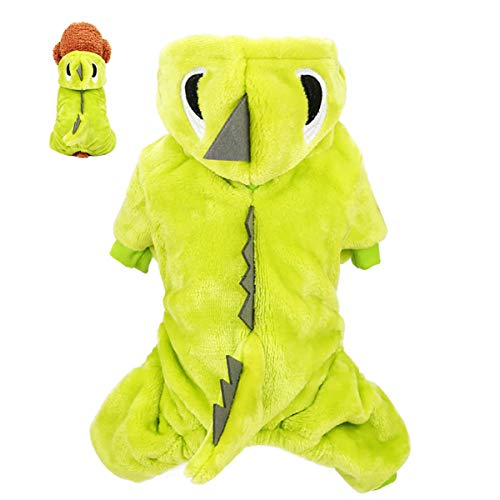 IHomiki Haustier-Plüsch-Outfit Dinosaurier-Kostüm-Welpen-Kleidung mit Kapuze für kleine Hunde & Katzen Frühling Winter-Overall-Mantel (grün, S)