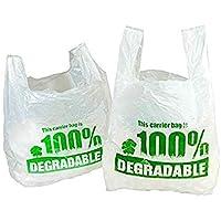Sacs de transport 100 % dégradables blancs de 28 x 43 x 53 cm, grands sacs en plastique respectueux de l'environnement…