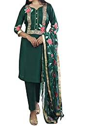 12aa2c9527 Nivetas design studio Green embroidery work punjabi patiala salwar suit for  women - with chiffon flower